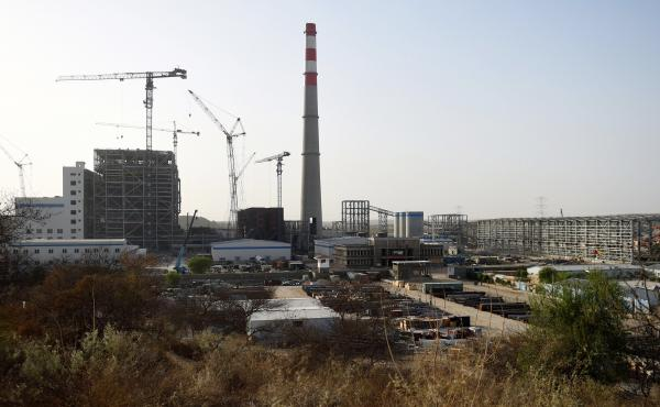 A Chinese-backed power plant under construction in 2018 in the desert in the Tharparkar district of Pakistan's southern Sindh province.