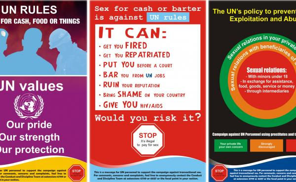 These U.N. posters remind staff that sex for cash or barter is prohibited.