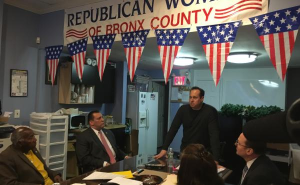 Mike Rendino, vice chairman of the Bronx Republican Party, leads a meeting of Bronx Republicans a week before New York's presidential primary.