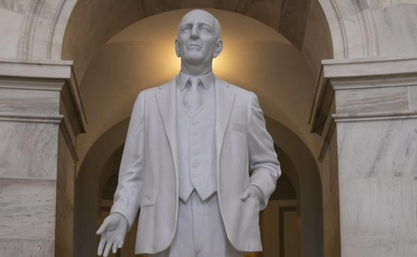 A statue of Sen. Richard Russell  stands in the rotunda of a Senate office building named after him.