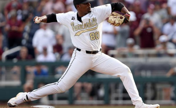 Kumar Rocker pitches during game three of the College World Series championship on June 30, 2021, in Omaha, Neb. This week, he was drafted by the New York Mets.
