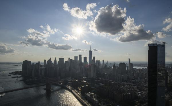 An aerial general view shows the skyline of Lower Manhattan last month.