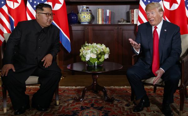 President Donald Trump meets with North Korean leader Kim Jong Un on Sentosa Island, in Singapore.