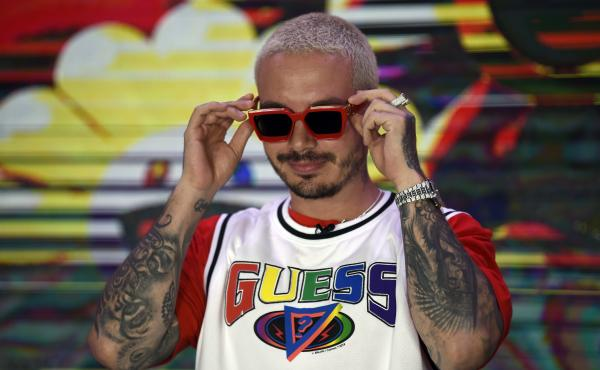 Colombian artist J Balvin poses at the Universal Music offices in Mexico City in March 2020.