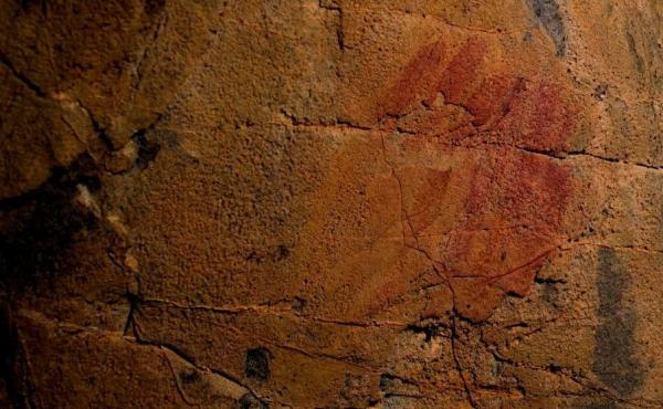 Picture shows what scientists say are Neanderthal cave-paintings inside the Andalusian cave of Ardales, on March 1, 2018. The cave-paintings, found in three caves in Spain, were created between 43,000 and 65,000 years ago, at least 20,000 years before mod