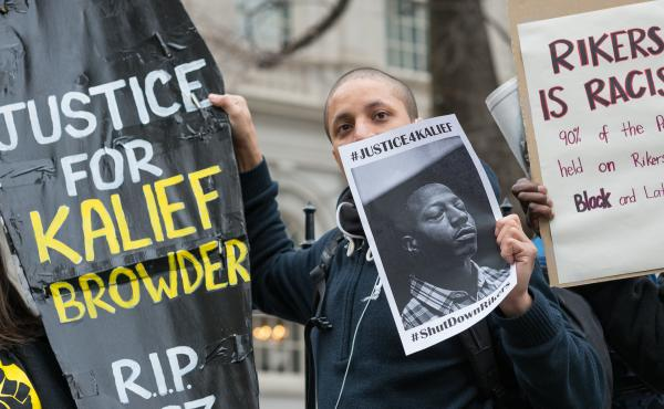 A confederacy of prison reform activists rallied at City Hall in New York City to demand that it close the long-controversial Rikers Island Corrections facility where, among others, Kalief Browder, died; critics maintain that the prison is unsafe and prol