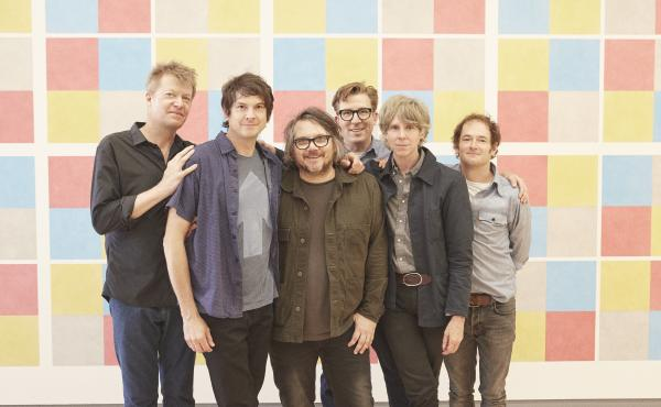 Wilco, left to right: Nels Cline, Glenn Kotche, Jeff Tweedy, Mikael Jorgensen, Pat Sansone, John Stirratt.