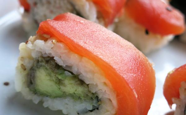 Chef James Corwell's nigiri sushi rolls made with Tomato Sushi, a plant-based tuna alternative, in San Francisco.