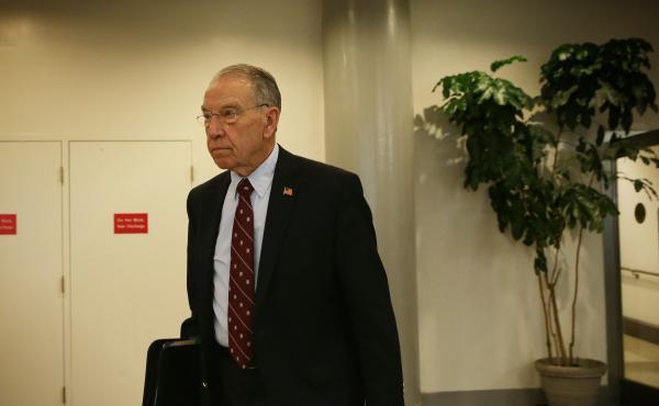 U.S. Sen. Chuck Grassley (R-IA) in the basement of the U.S. Capitol last April.