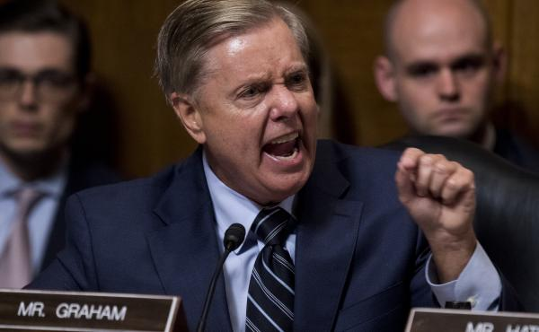 Sen. Lindsey Graham, R-S.C., points at Democrats as he defends Supreme Court nominee Brett Kavanaugh at the Senate Judiciary Committee hearing last week.