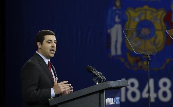 Josh Kaul, then a candidate for Wisconsin attorney general, speaks at an October 2018 rally in Milwaukee. Kaul's office has faced criticism for its investigation into the shooting of Jacob Blake.