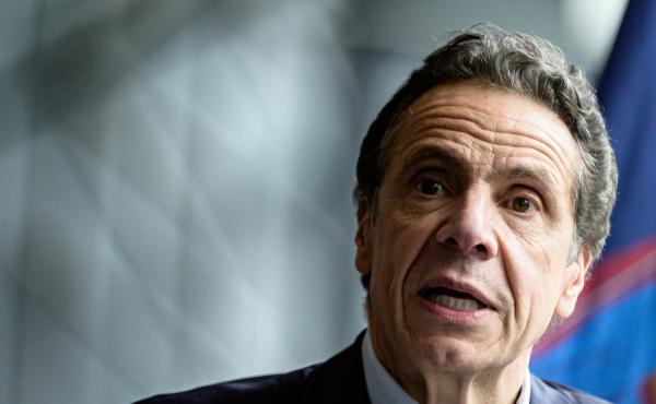 """While none of this is good news, the ... possible flattening of the curve is better than the increases that we have seen,"" New York Gov. Andrew Cuomo said Monday. He is seen last month following the arrival of the U.S. Naval hospital ship Comfort to New"