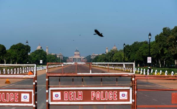 A crow flies near Rashtrapati Bhavan, the presidential palace in New Delhi, on April 2. Air quality has markedly improved in India's capital since the country's coronavirus lockdown began last month.