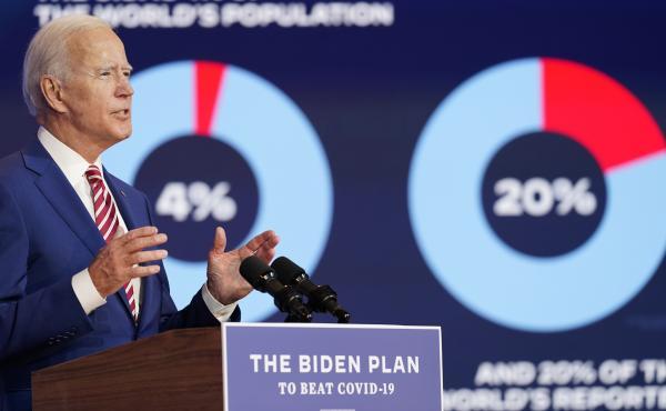 Former Vice President Joe Biden focuses on the coronavirus in an address Friday in Wilmington, Del.