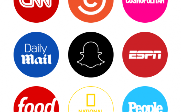 The Snapchat Discover user interface.