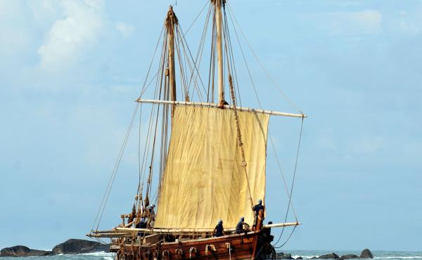 The Jewel of Muscat, a replica of a ninth century Omani trading ship, sails into the harbor of Galle, Sri Lanka, in 2010. The ship was built in a traditional manner that uses coconut fibers (but no nails) to hold the ship together. The ship followed old r