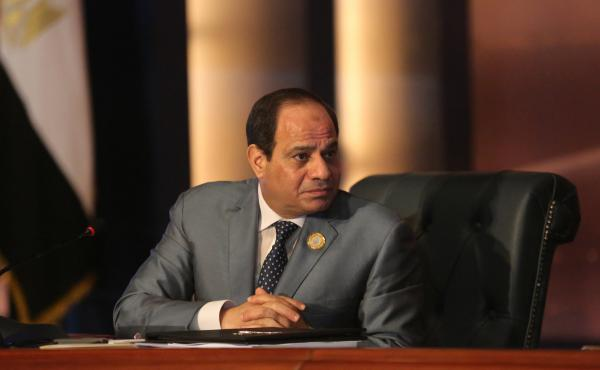 Egyptian President Abdel Fattah al-Sisi leads an Arab foreign ministers meeting in 2015. Sisi's widely expected victory in the March 26-28 polls is seen both as an endorsement by many Egyptians of his hard-line security policies and economic aims, and the