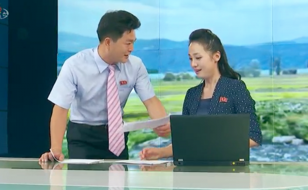 In this episode last September of News From Soldiers' Hometowns, an evening show on North Korea's Korean Central Television, the show's anchor is interrupted by a presenter who walks on with papers in hand to deliver an update.