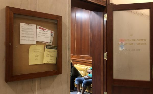Tenants facing eviction wait to speak with attorneys from Memphis Area Legal Services in Room 134 of the Shelby County General Sessions Court in Memphis, Tenn.