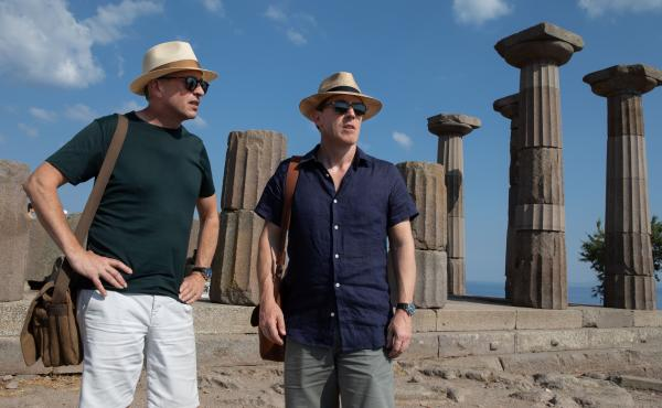 Actor-comedians Steve Coogan (left) and Rob Brydon (right) play coyly fictionalized versions of themselves in The Trip to Greece.