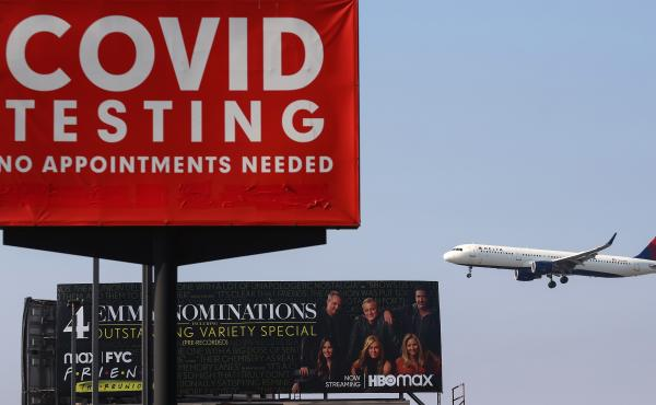 A plane lands at Los Angeles International Airport on Aug. 25. The airline industry hasn't come out against a government-imposed vaccine mandate for domestic travel, but the U.S. Travel Association, which represents a broader coalition of travel-dependent