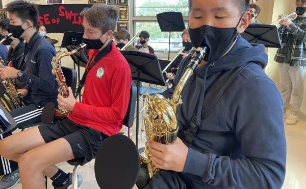 Wellesley high schooler Andrew Song plays baritone sax in the jazz band.