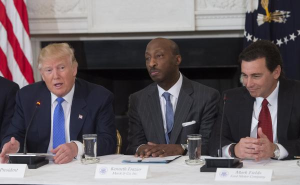 President Donald Trump speaks alongside White House senior adviser Jared Kushner (from left), Merck CEO Kenneth Frazier and Ford CEO Mark Fields during a meeting with manufacturing CEOs at the White House on Feb. 23. Trump disbanded two business advisory