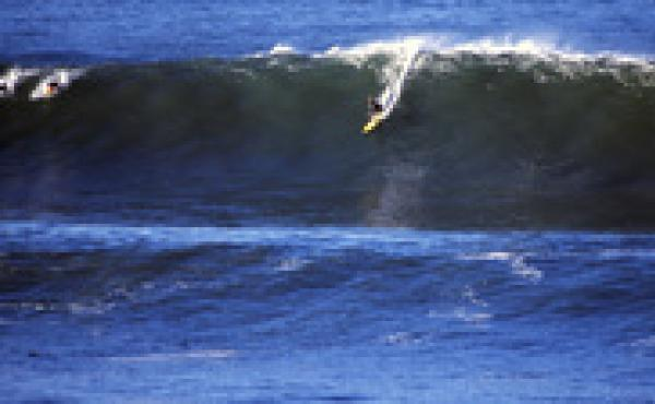 Sarah Gerhardt surfs Mavericks in northern California.