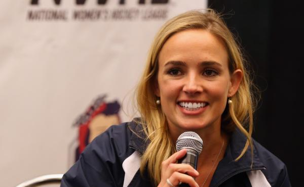 Dani Rylan, commissioner and founder of the National Women's Hockey League, speaks in September in Brooklyn, N.Y.