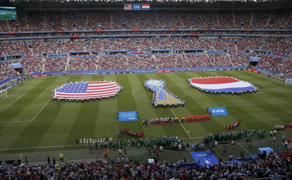 Events preceding the Women's World Cup final soccer match between the United States and the Netherlands in Decines, France, in 2019. FIFA President Gianni Infantino has suggested that the FIFA Women's World Cup could be held every two years instead of eve