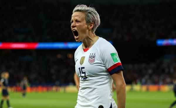 U.S. forward Megan Rapinoe celebrates after scoring her team's second goal during Friday's quarterfinal match against France. The Americans now face an England squad that brings confidence and defensive power.
