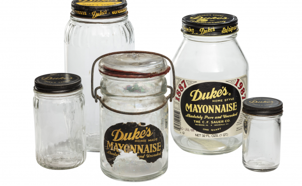 Duke's mayo jars like these have become collectors' items.