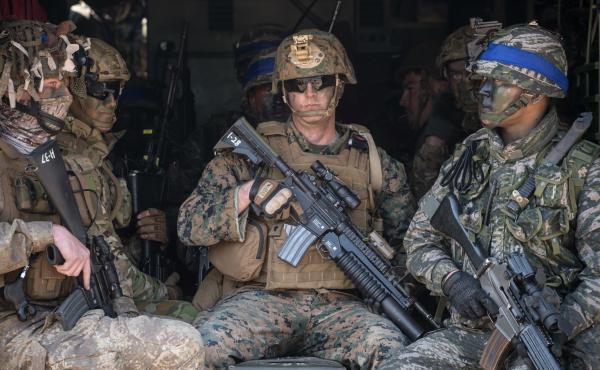 U.S. and South Korean soldiers sit inside an amphibious vehicle during an annual joint military landing exercise in Pohang, on South Korea's southeast coast, in March 2016.