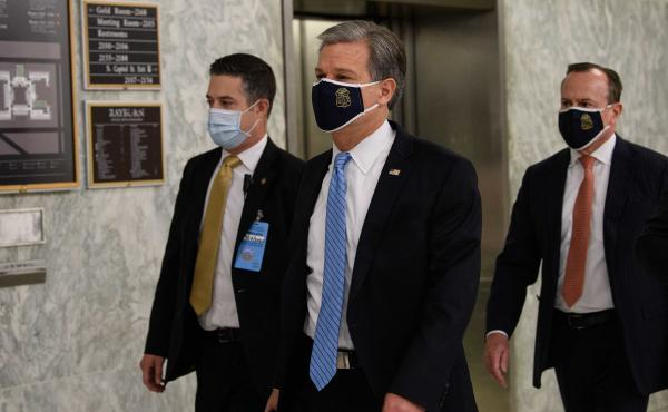 FBI Director Christopher Wray arrives for a hearing of the House Homeland Security Committee on Capitol Hill on Thursday.