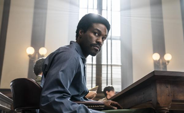 This image released by Netflix shows Yahya Abdul-Mateen II as Bobby Seale in a scene from The Trial of the Chicago 7.