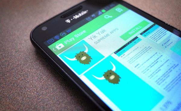 A new version of the Yik Yak app is only available currently in the Apple App Store in the United States. Here's a March 2014 photo illustration of the app in the Google Play store.