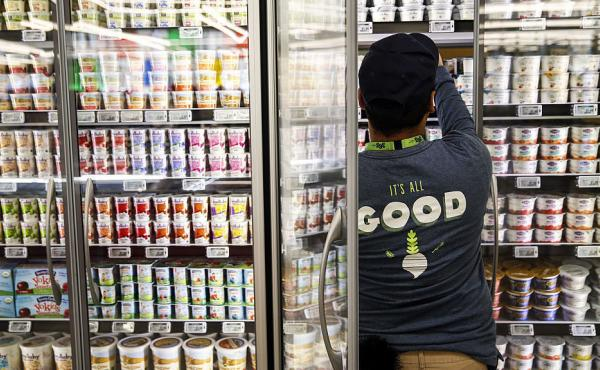 Yogurt selections like this one at a Los Angeles 365 by Whole Foods Market store are getting larger, but a new U.K. study warns that many contain lots of added sugar.