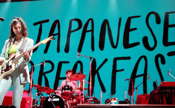 Michelle Zauner (L) of Japanese Breakfast performs with drummer Craig Hendrix at the Intersect music festival at the Las Vegas Festival Grounds on December 07, 2019 in Las Vegas, Nevada.