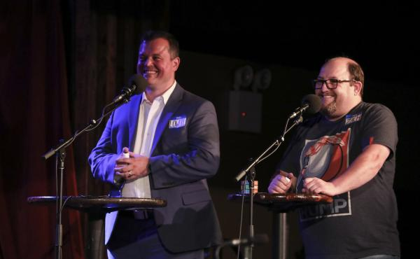 Contestants Lowell Williams and Zach Elwyn appear on Ask Me Another at the Bell House in Brooklyn, New York.