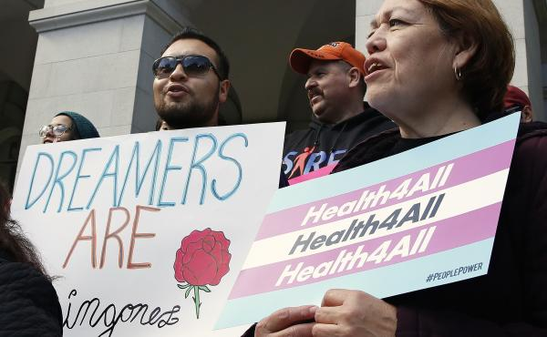 Demonstrators rallied in Sacramento in May for Medi-Cal expansion to undocumented Californians. When the state's budget was finalized, only young adults up to age 26 were authorized to be included in the expansion. Gov. Gavin Newsom says that's an importa