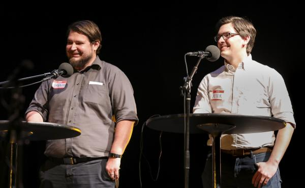 Contestants Jarrod Walker and Peter Murrey play trivia games on Ask Me Another at TPAC's Polk Theater in Nashville, Tennessee.