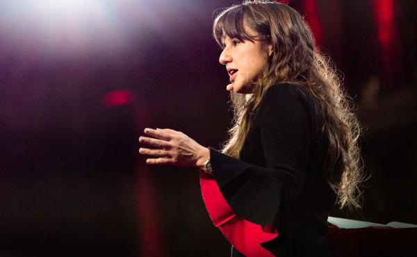 Zeynep Tufekci on the TED stage.