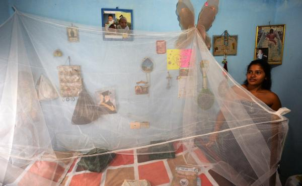 Eight months pregnant, Mara Torres stands next to a mosquito net placed over her bed in Cali, Colombia. Health officials in Cali have delivered mosquito nets to pregnant women to help protect them from the bites of mosquitoes that can transmit dengue, chi
