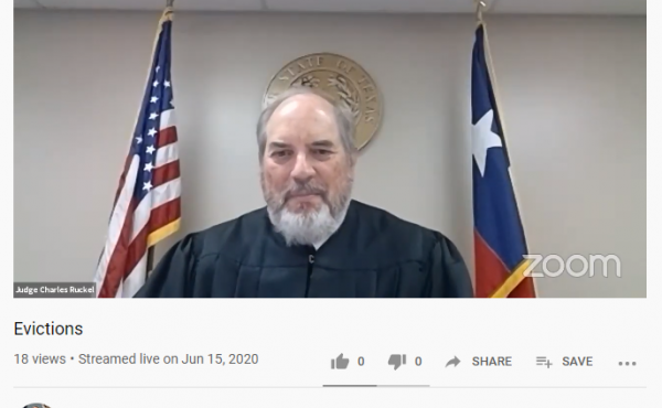 At a remote eviction hearing this week in Collin County, Texas, the court granted landlords the right to evict five people who didn't or couldn't dial into the hearing. Judge Charles Ruckel also postponed several cases to next week because an eviction mor